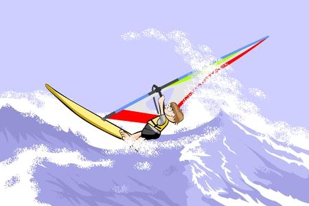 windsurf: Windsurf saltando en las olas. Conceptual ilustración vectorial sobre el deporte de windsurf. Vectores