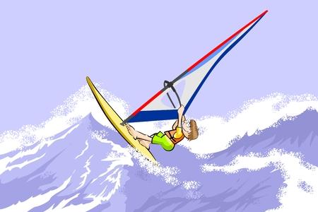 windsurf: Windsurfing jumping on waves. Conceptual vector illustration about windsurf sport.