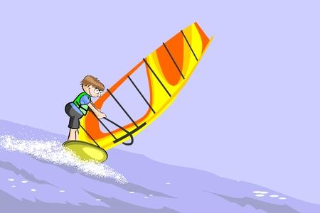 Boy practicing windsurfing in the ocean. Conceptual vector illustration.