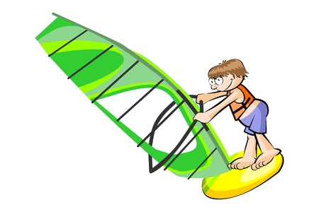 Boy windsurfing isolated on white background. Conceptual vector illustration.