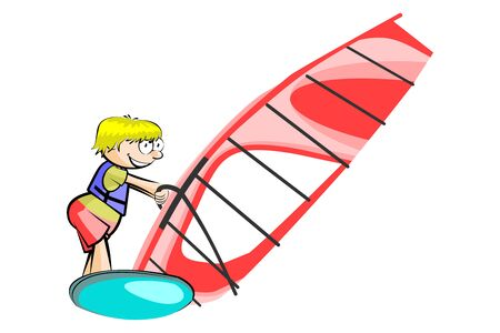 windsurf: Windsurf ilustración aislada sobre fondo blanco. Imagen vectorial conceptual.
