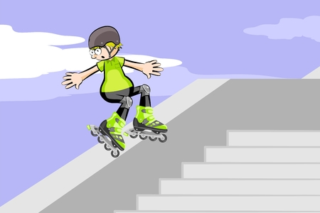 Rollerblader jumping down stairs. Conceptual vector illustration about roller skate Illustration