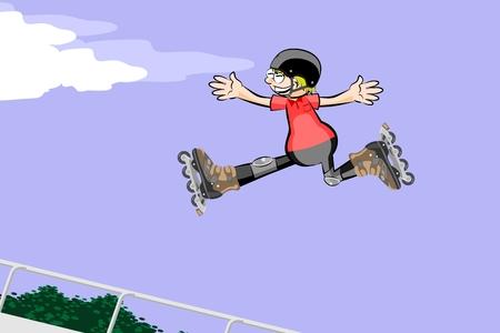 skate park: Rollerblader boy jumping in the skate park. Conceptual vector illustration.