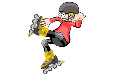 rollerblades: Boy wearing rollerblades isolated on white. Conceptual vector illustration.