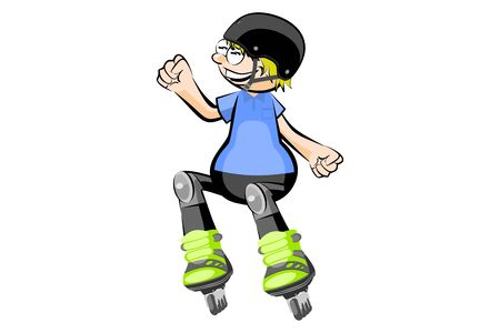 rollerblade: Rollerblader boy isolated on white. Conceptual vector illustration.