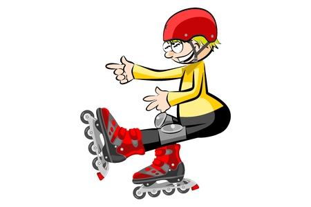 Rollerblader niño aislado en blanco. Conceptual ilustración vectorial.