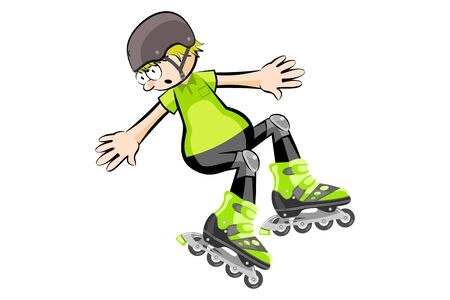 Rollerblader boy isolated on white. Conceptual vector illustration.