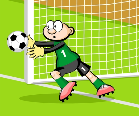 Goalkeeper catching the ball Illustration