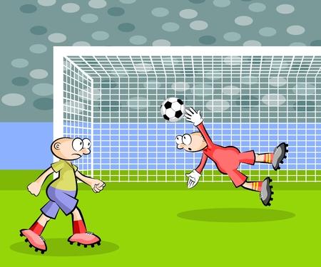 Goalkeeper catching the ball Illusztráció
