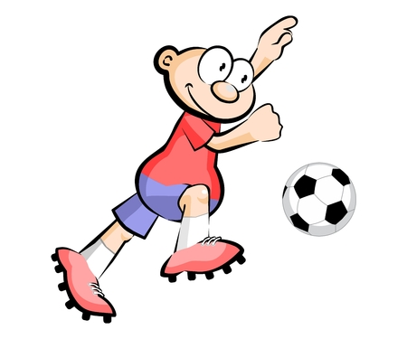 Cartoon Soccer player isolated over white. Conceptual vector illustration.