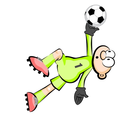 Goalkeeper catching the ball - isolated illustration over white Illustration