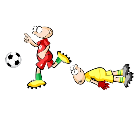 Cartoons Soccer players isolated over white. Conceptual vector illustrations.