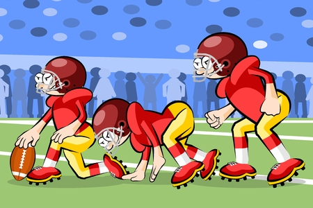 American Footbal Players in cartoon style. Conceptual vector illustrations. Vector Illustration