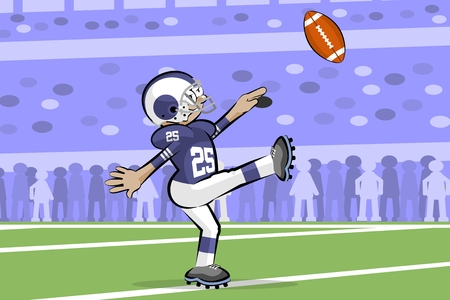 American Footbal Players in cartoon style. Conceptual vector illustrations.