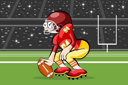 American Footbal Players in cartoon style. Conceptual vector illustrations. Çizim