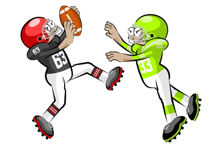 gridiron: American Footbal Players in cartoon style. Conceptual vector illustrations. Illustration
