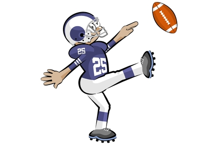 American Footbal Player in cartoon style. Conceptual vector illustrations. Vector Illustration
