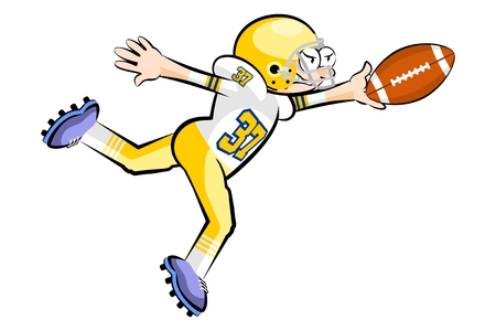 gridiron: American Footbal Player in cartoon style. Conceptual vector illustrations. Illustration