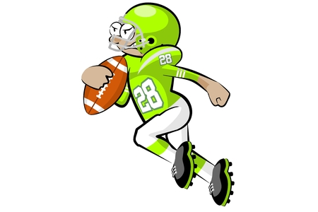 American Footbal Player in cartoon style. Conceptual vector illustrations. Illustration
