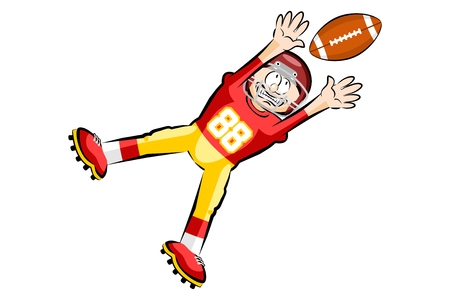 American Footbal Player in cartoon style. Conceptual vector illustrations.