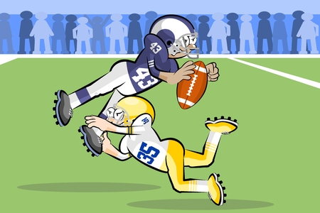 American Footbal Players in cartoon style. Conceptual vector illustrations. Illustration