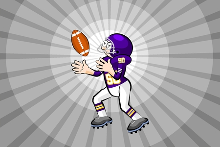 American Footbal Player in cartoon style. Conceptual vector illustrations. Çizim