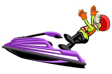 Man driving a jet ski- isolated on white background. Conceptual vector illustration.