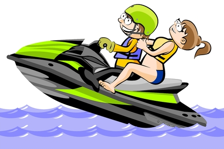 A man and a girl riding a water scooter - isolated on white. Conceptual vector illustration.