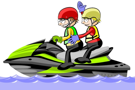 Two Man driving a water scooter - isolated on white. Conceptual vector illustration. Illustration