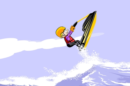 Man jumping with a  jet ski on the sea. Fun conceptual vector illustration