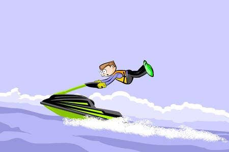Man driving jet ski on a water. Fun conceptual vector illustration Illustration