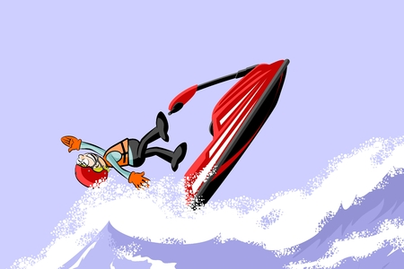 Man jumping with a jet ski on the sea. Fun conceptual vector illustration Illustration