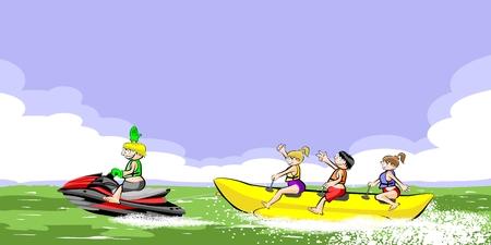 having fun: Banana boat group of friends having fun on summer vacation in the beach. Vector illustration. Illustration