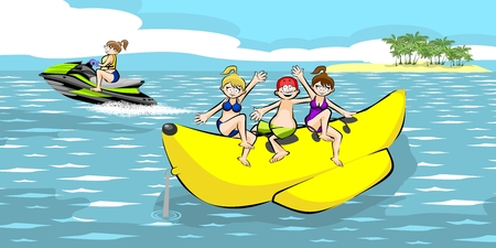 Banana boat group of friends having fun on summer vacation in the beach. Vector illustration. Illustration