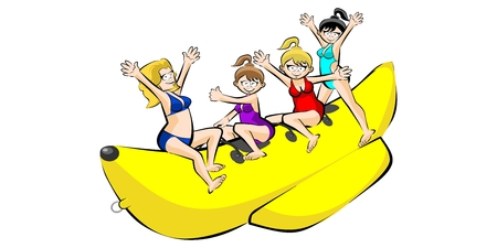 Banana boat group of friends having fun on summer vacation. Vectora illustration isolated on white background.