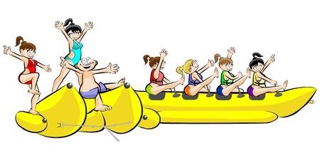 Banana barco grupo de amigos que se divierten en las vacaciones de verano. Vectora ilustración aislada sobre fondo blanco.
