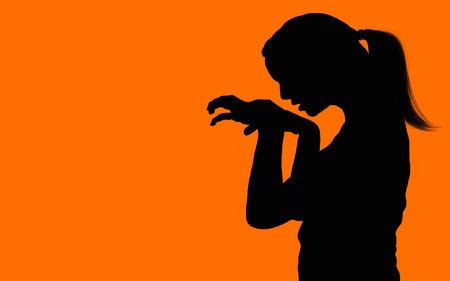 venganza: Womens anger, human silhouette.