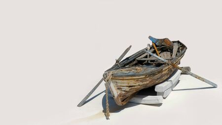 Old fishing boat on the white background Stock Photo
