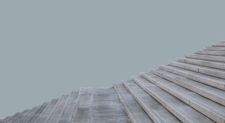 A wide staircase made of iron and concrete on an isolated background.