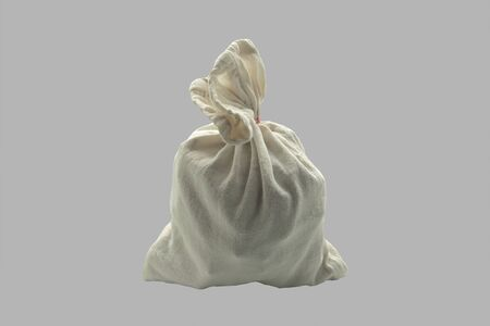 Linen bag on an isolated gray background.