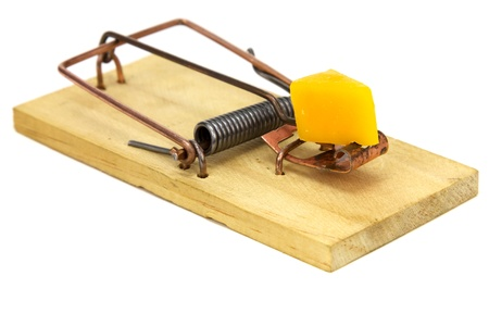 mouse: Mouse trap isolated on a white background. Stock Photo