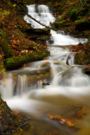 Cascading waterfall during autumn located in Oil Creek State Park
