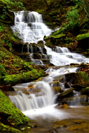 Cascading waterfall during spring located in Oil Creek State Park. Stock Photo - 13640603