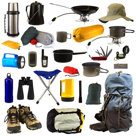 Camping gear collage isolated on white background depicting a thermos, coffee pot, frying pan sitting on stove, hat, bags of camping equipment, stainless steel mug, pot sitting on stove, blue flashlight, GPS, walkie talkie, pot, Swiss army knife, compass,