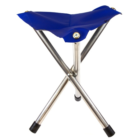Blue camping chair isolated on a white background