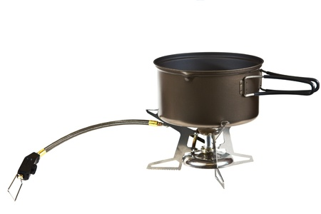 butane: Portable camping stove isolated on a white background  Stock Photo