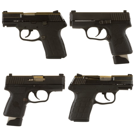 9mm: Handguns isolated on white background depicting a black 9mm kel-Tec PF-9 pistol and a Kahr Arms PM9 9mm pistol