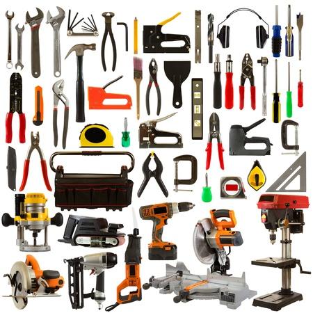 Tool collage geïsoleerd op een witte achtergrond afbeelding van timmerwerk en de bouw tools.