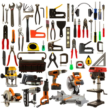 Tool collage isolated on a white background depicting carpentry and construction tools.  photo