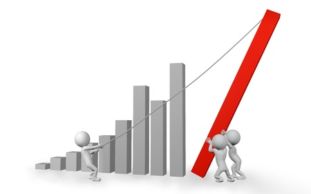 teamwork cartoon: Teamwork concept with 3d cartoon people characters and a bar chart on a white background  Stock Photo
